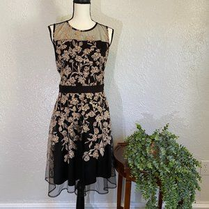 J. Taylor ~ Black and Gold Embroidered Dress ~ 10